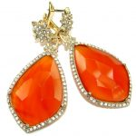 Sublime Orange Carnelian .925 Sterling Silver handmade statemennt earrings
