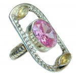Classy Pink Topaz .925 Silver Ring s. 8 3/4