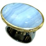 Majestic Lace Agate Rhodium Gold over .925 Sterling Silver handmade Ring s. 5 3/4