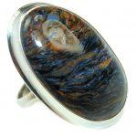 45ct Golden Pietersite .925 Sterling Silver handmade Ring size 7 adjustable