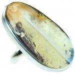 Huge Australian Boulder Opal .925 Sterling Silver handcrafted ring size 7 adjustable