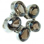 Huge Incredible Smoky Quartz .925 Sterling Silver Ring s. 10 3/4
