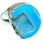 Exotic Druzy Agate .925 Silver Ring s. 9 1/4