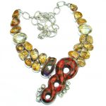 Chic Boho Style Orange Copper Turquoise .925 Sterling Silver handmade necklace