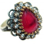 Large Victorian Style created Ruby Two Tones .925 Sterling Silver ring; s. 10