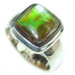 Huge Incredible Ammolite .925 Sterling Silver Ring s. 6 1/4