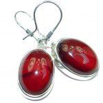 Authentic 45CT genuine Garnet .925 Sterling Silver handmade earrings