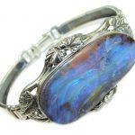 Norwegian Northern Lights Boulder Opal handmade .925 Sterling Silver Bracelet / Cuff
