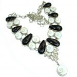 Spectacular Genuine Onyx Shiva Shell .925 Sterling Silver handmade Necklace
