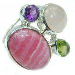 Perfect Rhodochrosite .925 Sterling Silver handmade Ring s. 7 adjustable