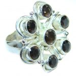 Huge Incredible Smoky Quartz .925 Sterling Silver Ring s. 6