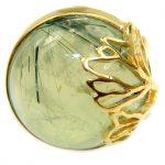 Prehnite 14K Gold over .925 Sterling Silver handmade Cocktail Ring s. 8 adjustable