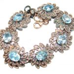 Authentic Swiss Blue Topaz Rose Gold over .925 Sterling Silver handmade Bracelet