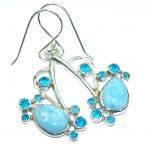 Bali Treasure Precious Blue Larimar .925 Sterling Silver handmade ring s. 7 adjustable