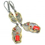 Bohemian Style Genuine Red Fossilized Coral .925 Sterling Silver handmade earrings