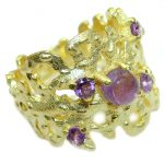 Natural Amethyst 14K Gold over .925 Sterling Silver handmade Cocktail Ring s. 7 1/4