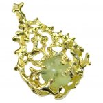 Authentic Prehnite 18K Gold over .925 Sterling Silver handmade pendant