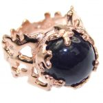 Natural Amethyst 14K Gold over .925 Sterling Silver handmade Cocktail Ring s. 7