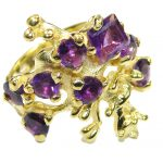 Natural Amethyst 14K Gold over .925 Sterling Silver handmade Cocktail Ring s. 6