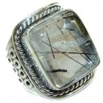 Mysterious Tourmalinated Quartz Sterling Silver handmad ring s. 6