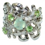 Great Prehnite .925 Sterling Silver handmade Cocktail Ring s. 6