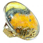 Vivid Beauty Yellow Bumble Bee Jasper Sterling Silver ring s. 8