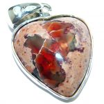 My Sweet love Natural Mexican Fire Opal .925 Sterling Silver handmade Pendant