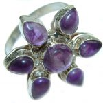 Natural Amethyst .925 Sterling Silver handmade Cocktail Ring s. 11