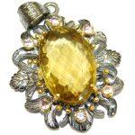 Vintage Design 75.2CT Genuine Lemon Quartz .925 Sterling Silver handcrafted pendant