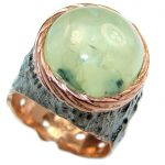 HAPPINESS Prehnite Rose Gold over .925 Sterling Silver handmade Cocktail Ring s. 8 1/4