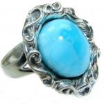 Treasure Blue Larimar .925 Sterling Silver handmade ring s. 8 adjustable