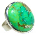 Green Turquoise .925 Sterling Silver handmade Ring s. 9 3/4