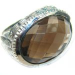 Huge Incredible Smoky Quartz .925 Sterling Silver Ring s. 9