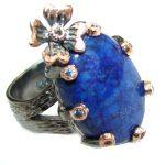 Ocean Inspired Lapis Lazuli .925 Sterling Silver handmade Cocktail Ring s. 7 adjustable