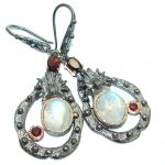 Perfect Fire Moonstone 14K Gold over .925 Sterling Silver handmade earrings