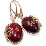 Authentic 43CT genuine Garnet 18k Gold over .925 Sterling Silver handmade earrings