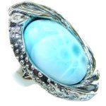 Huge Treasure Blue Larimar .925 Sterling Silver handmade ring s. 8 adjustable