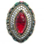 Large Victorian Style created Ruby Two Tones .925 Sterling Silver ring; s. 7 1/4