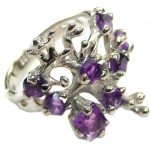 Natural Amethyst Rhodium over .925 Sterling Silver handmade Cocktail Ring s. 7 3/4