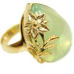 Prehnite 14K Gold over .925 Sterling Silver handmade Cocktail Ring s. 8