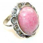 Delicate Rhodochrosite Sterling Silver ring s. 10