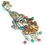 Stylish Dance Lady Emerald Sterling Silver Pendant