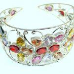 Spring Daisy Multicolor Quartz Sterling Silver Bracelet / Cuff
