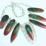 Big!! Natural Red Sonora Jasper Sterling Silver Necklace