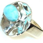 Spectacular Blue Larimar Sterling Silver Ring s. 6 & up