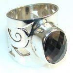 Classy Smoky Topaz Quartz Sterling Silver Ring s. 8