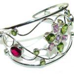 Illusion Floral!! Multicolor Quartz Sterling Silver Bracelet / Cuff