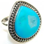 Passion Blue Agate Sterling Silver Ring s. 9 1/4