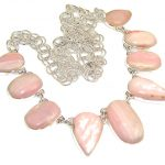 Beautiful Natural Pink Opal Sterling Silver Necklaces