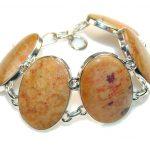 Fantastic Fossilized Coral Sterling Silver Bracelet